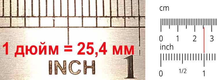Один дюйм равен 25,4 мм = 2,54 см